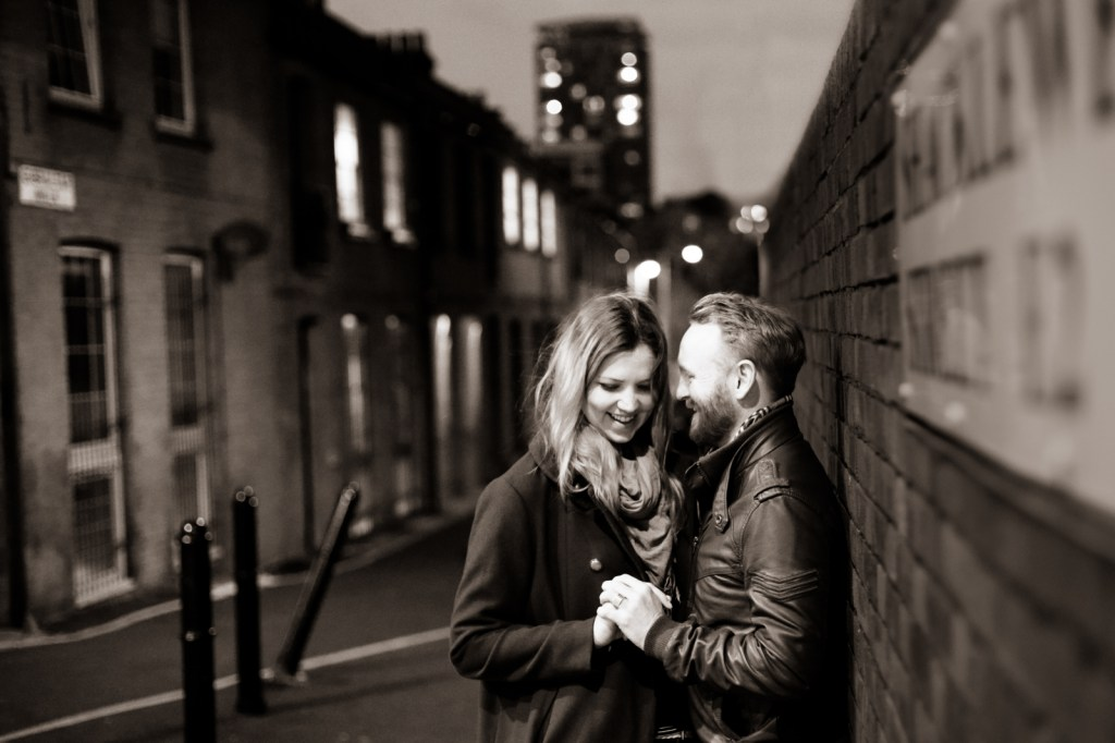 nighttime engagement Shoot London Bethnal Green and Shoreditch